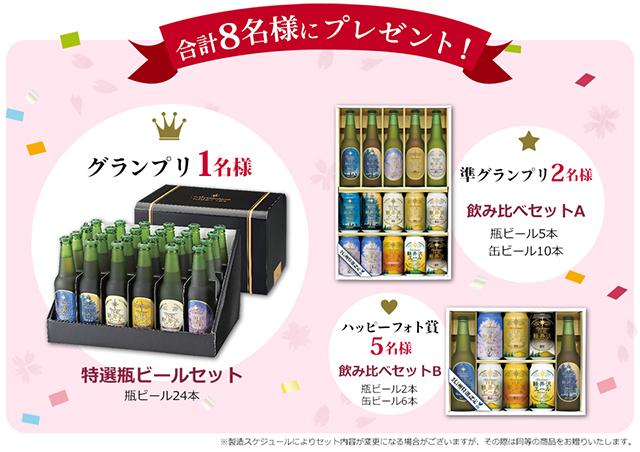 合計8名様にプレゼント! グランプリ1名様 特選瓶ビールセット(瓶ビール24本),準グランプリ2名様 飲み比べセットA(瓶ビール5本・缶ビール10本),ハッピーフォト賞5名様 飲み比べセットB(瓶ビール2本・缶ビール6本)